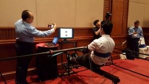 Sesi demonstrasi penggunaan simulator sukan mendayung masa-nyata  kepada pihak industri National Instrument (NI)