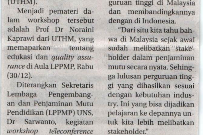 UTHM Collaborate With Sebelas Maret (UNS) Surakarta University